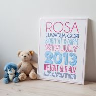 Personalised New Birth Mounted Canvas Print