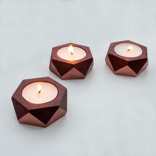 Hand Made Wooden Tea Light Holders X 3