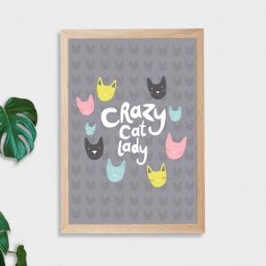 Crazy Cat Lady Wall Art Print - Not Framed