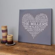 Personalised Family Word Art Heart Canvas
