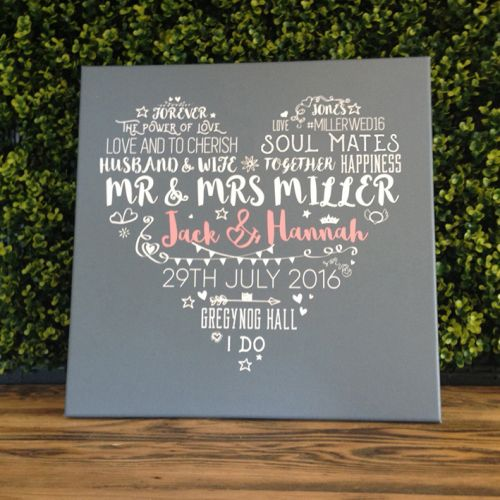 Personalised word art wedding canvas print