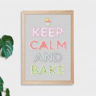 Keep Calm and Bake Wall Art Print - Not Framed