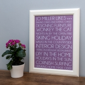 Personalised Loves or Likes Typography Print Unframed
