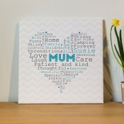 Mothers Day Word Heart Canvas
