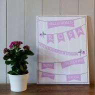 Personalised New Birth Mounted Canvas