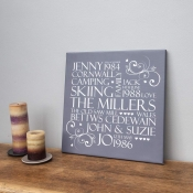 Personalised Family Word Art Canvas - Square