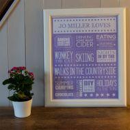 Personalised Loves or Likes Word Art Print - Unframed
