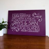 Personalised Word Art Wedding Contemporary Canvas Print