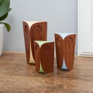 Trio Of Wooden Owls - Handmade from Sapele Hard Wood