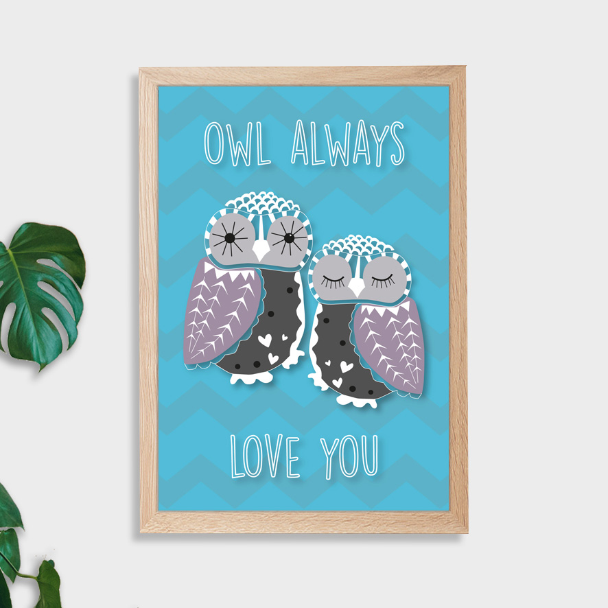 Owl_Always_Love_You_Wall_Art - Hatched Creative - Personalised Art ...