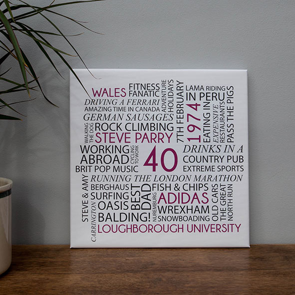 personalised birthday word art canvas hatched creative