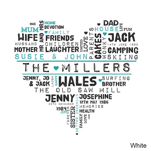 Click To Enlarge  C B Click To Enlarge Personalised Family Word Art Canvas Tap For Gallery