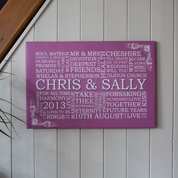 personalised word art wedding canvas hatched creative